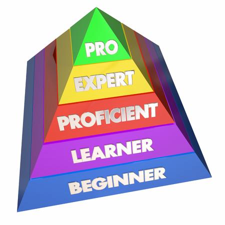 Professional Expert Learner Expérience Pyramid 3d Illustration Banque d'images - 64815645