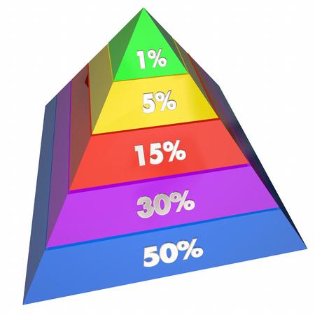 elite: One Percent 1 Elite Groups Population Pyramid 3d Illustration