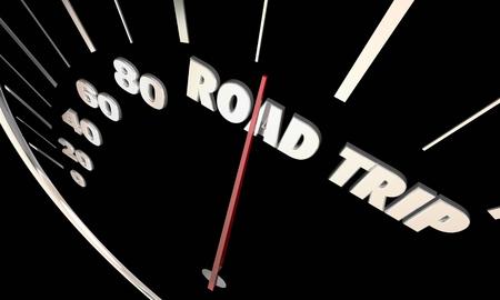 道路旅行旅行休暇輸送スピード メーター 3 d イラストレーション