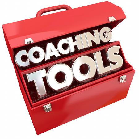 コーチングのツール チーム ビルディング リーダーシップ ツールボックス 3 d イラストレーション 写真素材