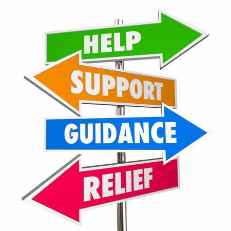 guidance: Help Support Guidance Relief Assistance Words Signs 3d Illustration Stock Photo