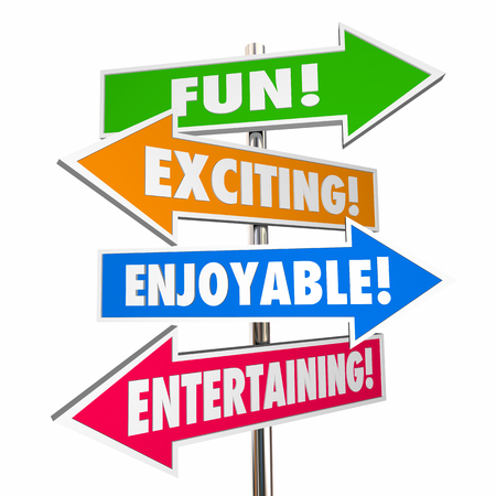 exciting: Fun Exciting Entertaining Enjoyable Signs Words 3d Illustration