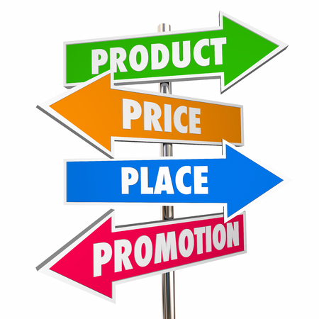 ps: Product Price Place Promotion 4 Ps Marketing Signs 3d Illustration Stock Photo