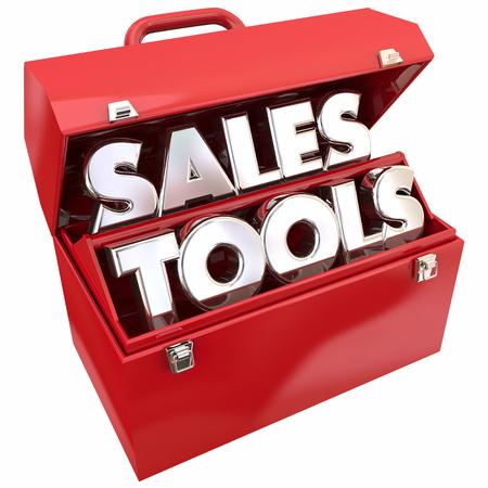 Sales Hulpmiddelen Verkopend Resources Toolbox Woorden 3d Illustratie