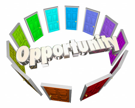 opting: Opportunity Chance Success Choose Path Doors 3d Illustration Stock Photo