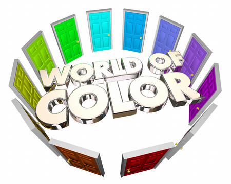 World of Color Diversity Options Choices Doors 3d Illustration