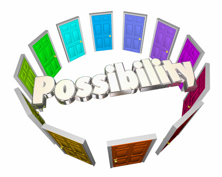 opting: Possibility Doors Circle Future Potential Opportunity 3d Illustration