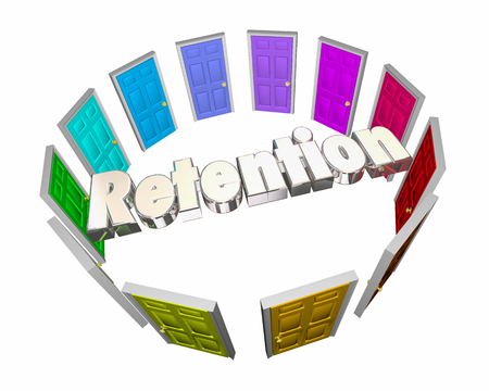 opting: Retention Keep Hold Onto Employees Retain Customers Doors 3d Illustration