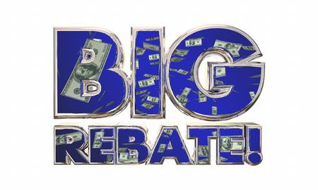 returned: Big Rebate Get Tax Refund Money Back Words 3d Illustration