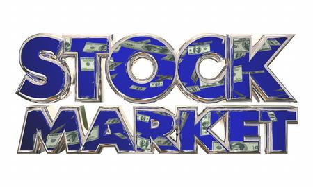 financial adviser: Stock Market Money Income Investment Words 3d Illustration