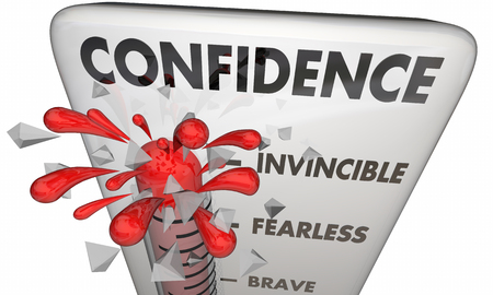 assured: Confidence Thermometer Brave Assured Courage 3d Illustration Stock Photo