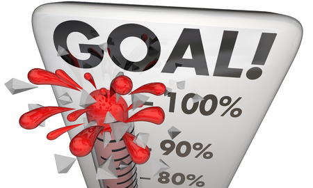 Goal Achieved 100 Percent Results Met Thermometer 3d Illustration Stockfoto