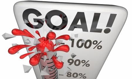 metas: Objetivo cumplido 100 Resultados por ciento cumplía termómetro Ilustración 3d