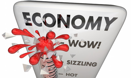 hotter: Economy Rising Financial Markets Thermometer 3d Illustration Stock Photo