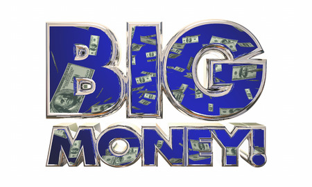 jackpot: Big Money Earn Income Revenue Jackpot Words 3d Illustration