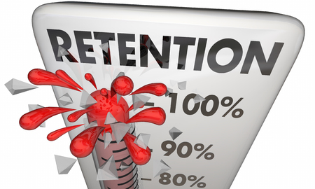hold high: Retention Hold Onto Keep Customers Employees Thermometer 3d Illustration Stock Photo
