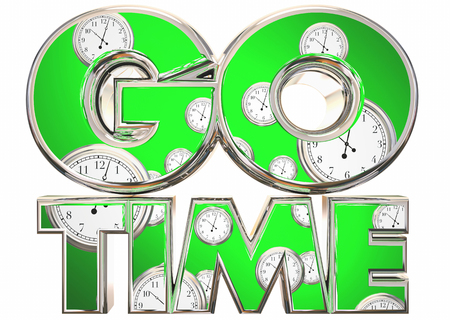 Go Time Start Begin Clocks Words 3d Illustration