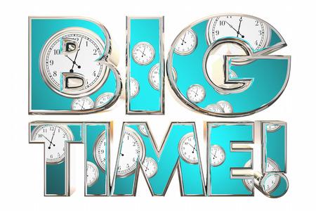 Big Time Huge Deal News Clocks Words 3d Illustration Stock fotó