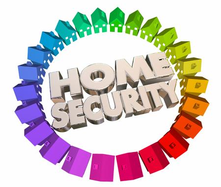 Home Security Veiligheid criminaliteitspreventie Huizen 3D-animatie Stockfoto