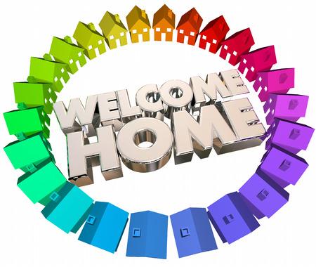 Welcome Home Greeting Terugkeren Huizen 3d Illustratie