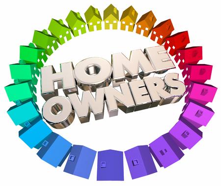 Huiseigenaren Kopers Houses Association Buurt 3d Illustratie