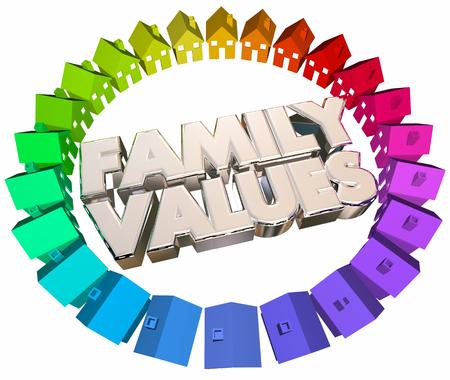 Family Values geloofsovertuiging Homes Huizen Woorden 3d Illustratie Stockfoto
