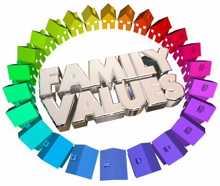 beliefs: Family Values Religious Beliefs Homes Houses Words 3d Illustration Stock Photo
