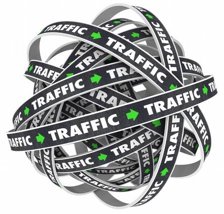 Traffic Road Ball Transportation Moving Word 3d Illustration Stock Photo