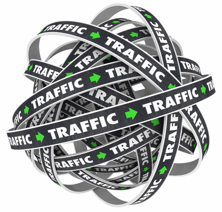 overcrowded: Traffic Road Ball Transportation Moving Word 3d Illustration Stock Photo