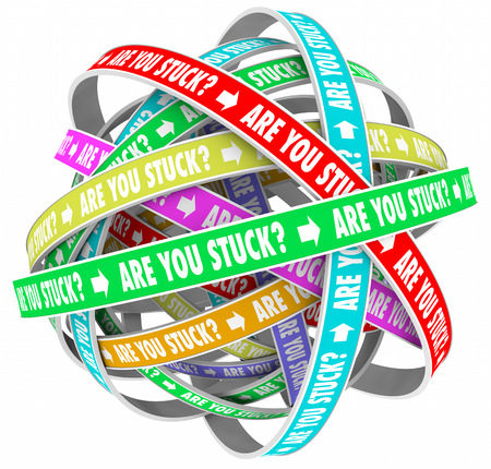 need direction: Are You Stuck Rut Lost Going Circles Words 3d Illustration