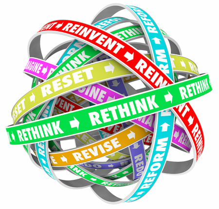 Rethink Reinvent Reimagine Reset Words Loops 3d Illustration