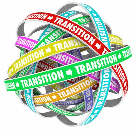 Transition Change Process Evolution Words Loops 3d Illustration