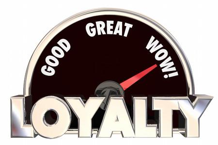allegiance: Loyalty Customers Employees Satisfied Speedometer 3d Illustration