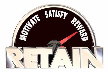 employee satisfaction: Retain Customers Employees Retention Speedometer 3d Illustration