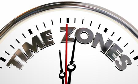 Time Zones International Hours Clock Words 3d Illustration Stok Fotoğraf