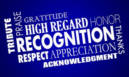 Recognition Appreciation Praise Word Collage 3d Illustration