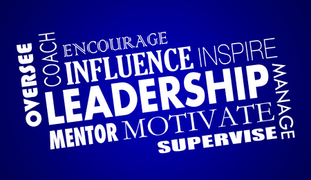 Leadership Inspire Coach Motivate Word Collage 3d Illustration