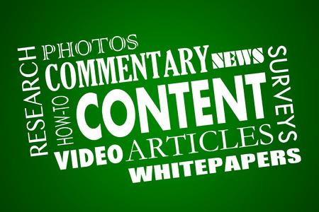 マーケティング記事ビデオ コンテンツ ホワイト ペーパー Word コラージュ 3 d イラストレーション