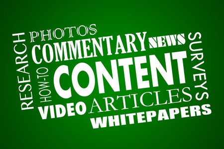Content Marketing Articles Video Whitepapers Word Collage 3d Illustration Stock Photo