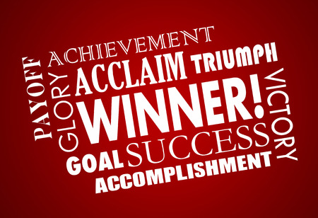 accomplish: Winner Success Goal Achieved Victory Word Collage 3d Illustration
