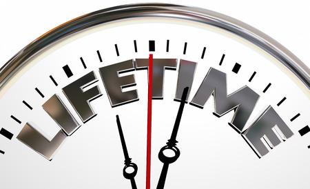 lifespan: Lifetime Clock Experience Living Span Word 3d Illustration