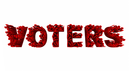 voters: Voters People Election Democracy Demo Groups Word 3d Illustration Stock Photo