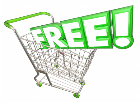 freebie: Free Word Bonus Gift Special Complimentary Shopping Cart 3d Illustration