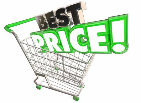 lower value: Best Price Shopping Cart Lowest Sale Deal 3d Illustration Stock Photo