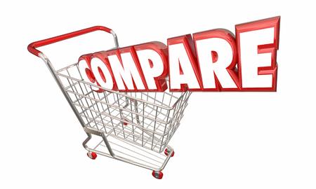 comparison: Compare Shopping Cart Comparison FInd Best Price Value 3d Illustration