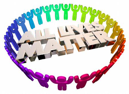 Alle Lives Matter Gleichheit Messe Ziviljustiz Menschen 3d Illustration Standard-Bild