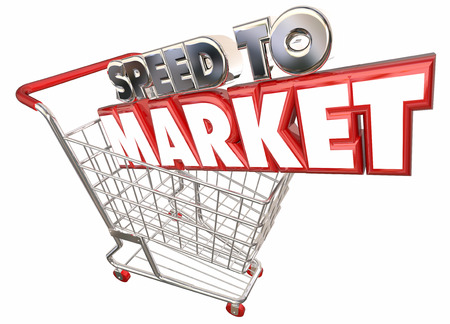 Speed to Market Shopping Cart Product Development 3d Illustration