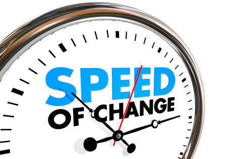disruption: Speed of Change Clock Progress Evolution Time Words 3d Illustration Stock Photo