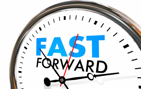 Fast Forward Clock Time Future Look Ahead 3d Illustration