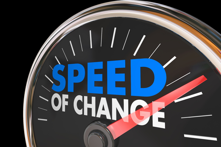 Speed of Change Clock Progress Evolution Time Words 3d Illustration Stock Photo